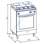 Тера + 60 низ духовка (Ш: 600 мм В: 820 мм Г 465 мм)